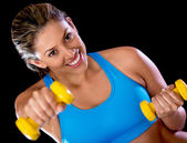 Gym woman with weights — Stock Photo