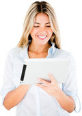 Woman with tablet computer — Stock Photo