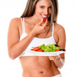 Woman eating a salad — Stock Photo