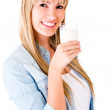 Woman drinking milk — Stock Photo