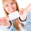 Woman holding a business card - 