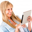Woman using a tablet computer — Stock Photo