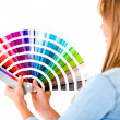 Female holding color guide — Stock Photo