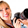 Beautiful female photographer — Stock Photo #11704040