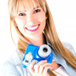 Woman holding snapshot camera — Stock Photo #11704042