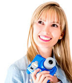 Female photographer with snapshot camera — Stock Photo