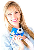Woman holding snapshot camera — Stock Photo
