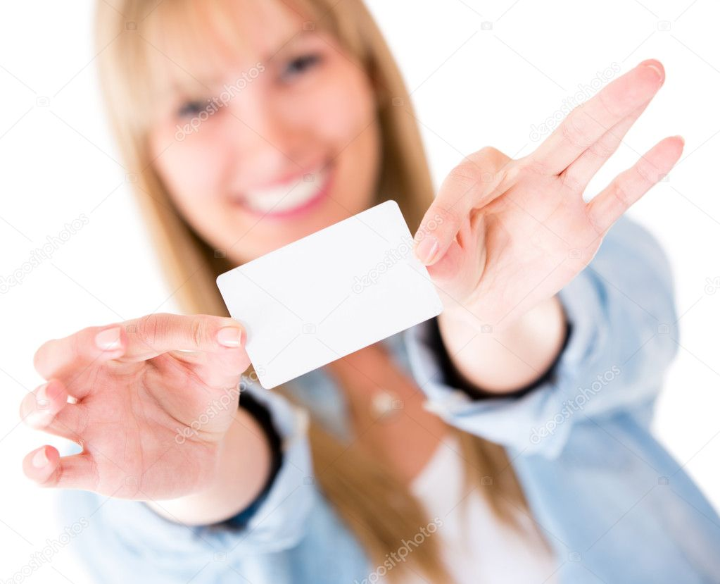 Busy Business Woman Woman Holding a Business Card