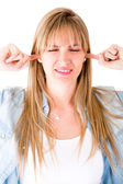 Woman refusing to hear — Stock Photo