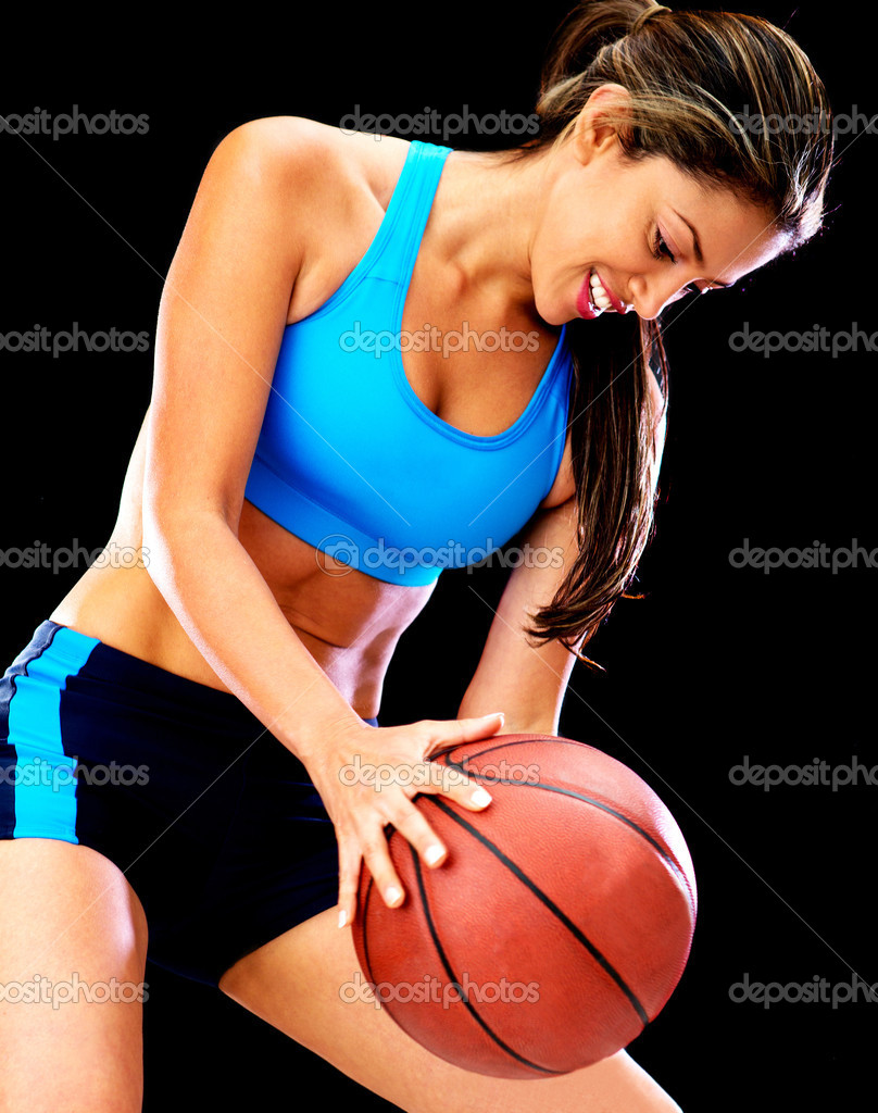 Woman playing basketball and holding the ball — Stock Photo #11731432