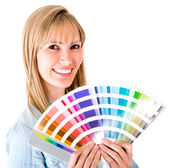 Woman holding a color guide — Stock Photo