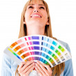 Woman with a color guide — Stock Photo #11848427