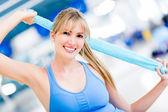 Happy fitness frau — Stockfoto