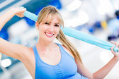 Femme gym heureux — Photo
