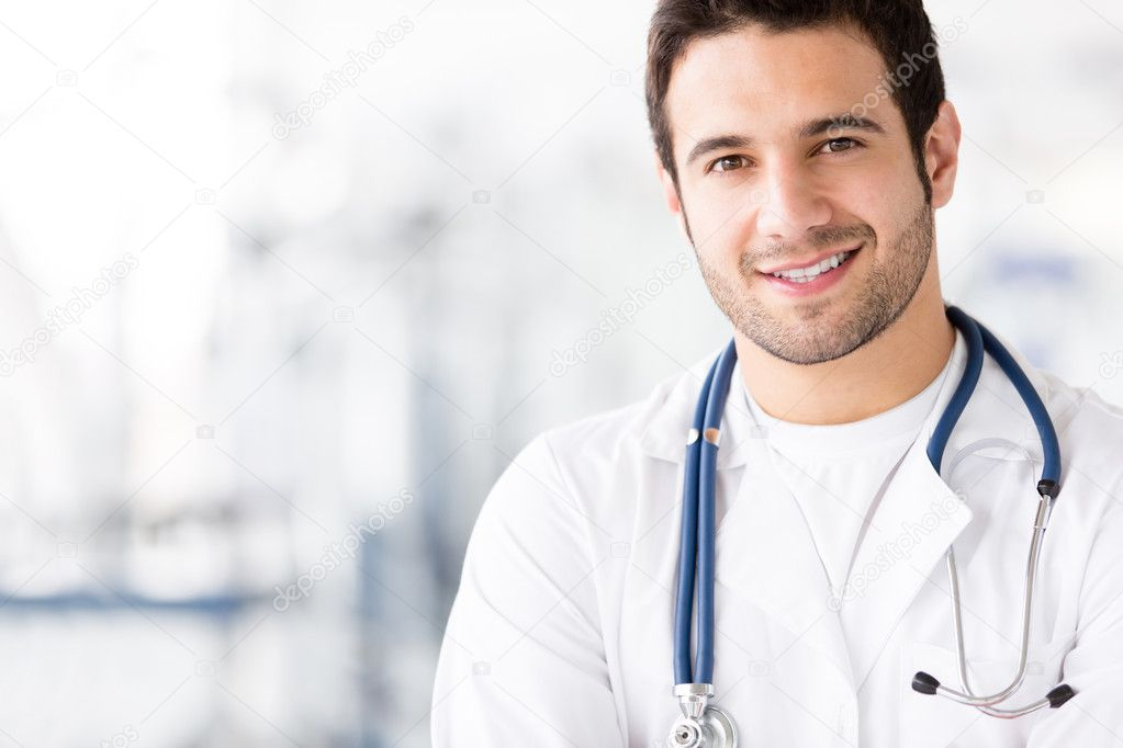 Portrait of friendly male doctor smiling — Stock Photo #11848606
