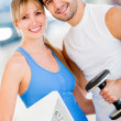 Fit couple at gym — Stock fotografie #12046216