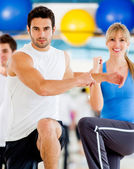 In an aerobics class — Stock Photo