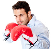 Business man ready to fight — Stock Photo