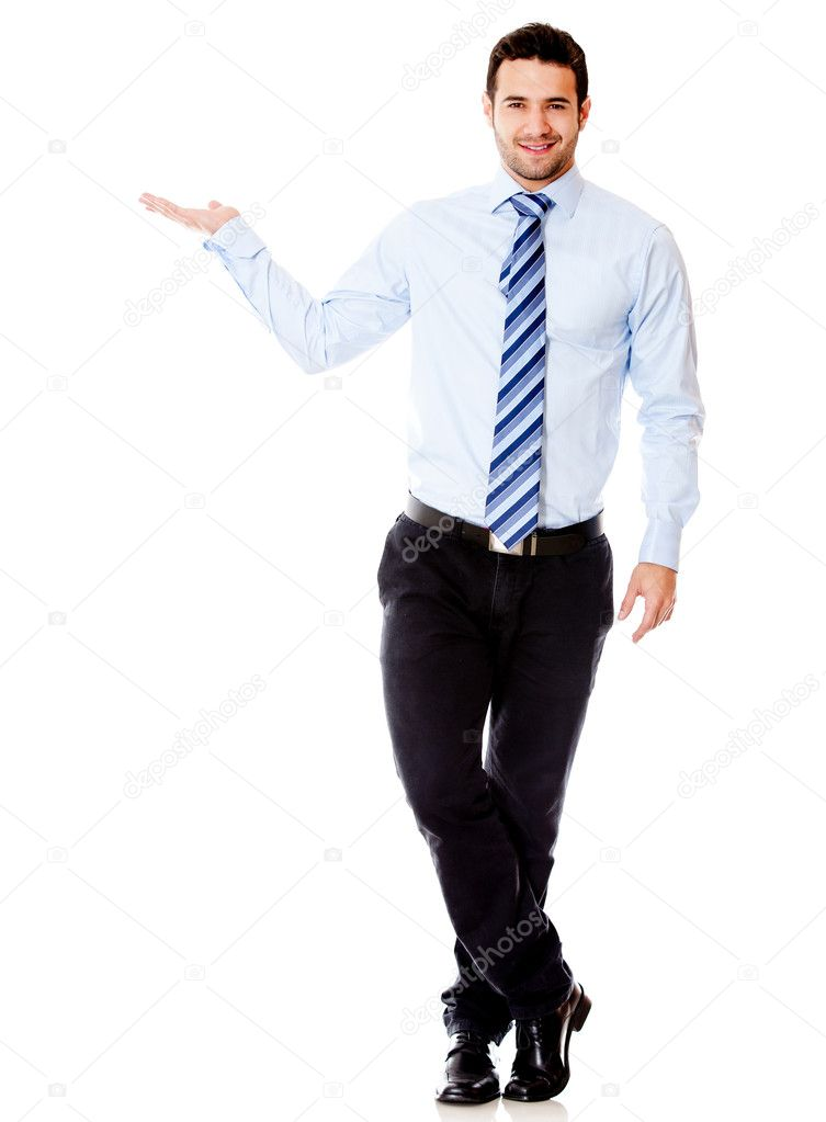 Businessman displaying something with his hand - isolated over a white background — Stock Photo #12091982