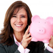 Businesswoman with her savings — Stock Photo