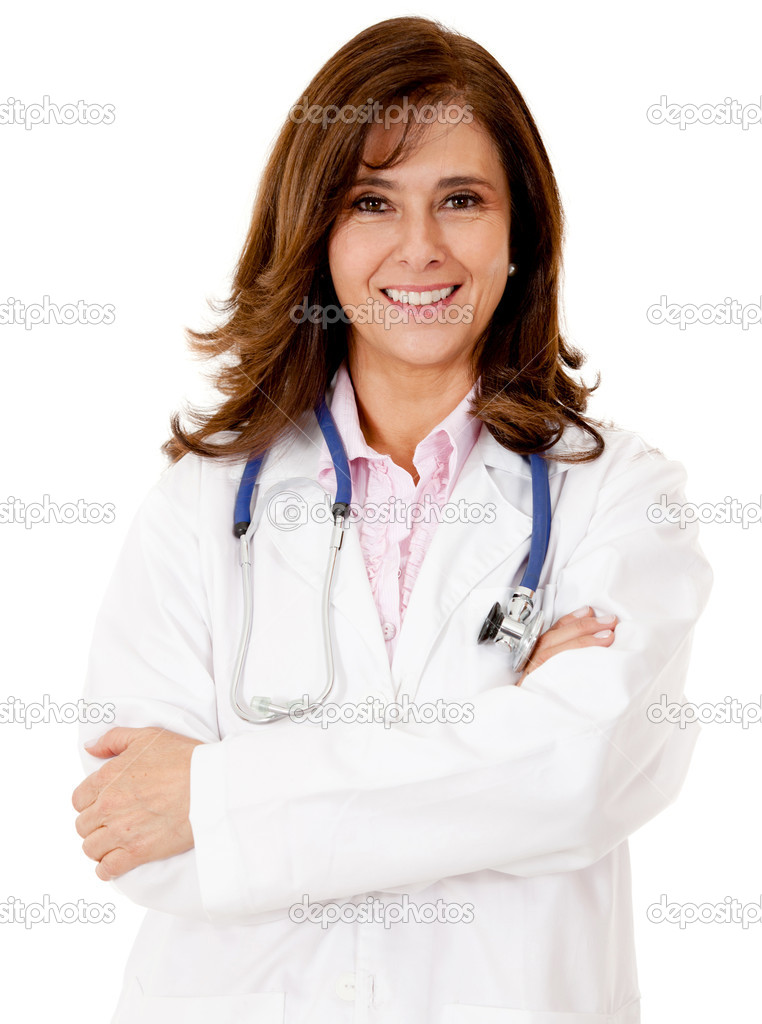 Friendly female doctor - isolated over a white background  Stock Photo #12231477