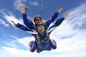 Skydiving photo. Tandem. — Stock Photo