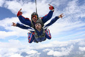 Skydiving photo. Tandem. — Stock Photo