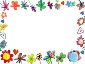 Horizontal flowers frame, child illustration — Stock Photo