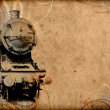 Stock Photo: Retro vintage technology, old train, grunge background