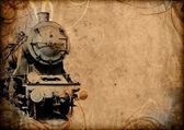 Retro vintage technology, old train, grunge background — Stock Photo
