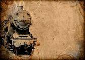 Retro vintage technology, old train, grunge background — Stock Photo