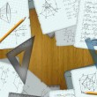 School math calculations on a wooden desk illustration - Stock Photo