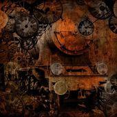 Grunge vintage steam locomotive time machine — Stock Photo