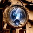Stock Photo: Broken train locomotive lamp reflector
