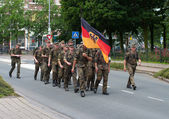 German soldiers walking the International Four Days Marches Nijmegen — Stock Photo