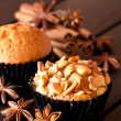 Cashew nut muffin and spices — Stock Photo