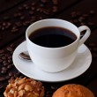 Coffee with two muffin on table — Stock Photo