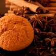Muffin close up with spice background — Stock Photo