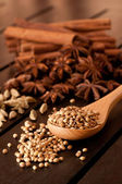 Spices on a wooden table — Stock Photo