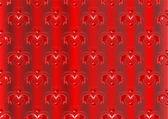 红色缎面条纹的背景与东方饰品 — 图库矢量图片