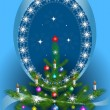 Royalty-Free Stock Vector Image: Oval frame with the Christmas tree on blue background