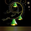 Christmas card with bells on black background - Imagen vectorial