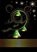 黒の背景上の鐘とクリスマス カード — ストックベクタ