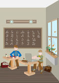 Children prepare lessons in school. — Stockvector