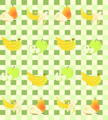 Seamless background with fruit on green squares. — Stock Vector