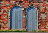 Two doors and bricklaying. — Stock Photo