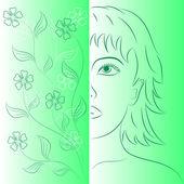 Flores e menina bonita. — Vetorial Stock