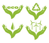 A set of eco symbols in female hands. — Stock Vector
