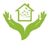 A symbol eco houses in female hands. — Stock Vector