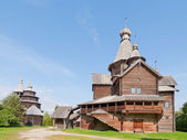 Ancient wooden church in Russian village. — Stock Photo